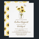 "Sunflowers in Mason Jar Bat Mitzvah Invitation<br><div class=""desc"">Whimsical Bat Mitzvah invitation featuring yellow sunflowers in a mason jar with butterflies. This floral Bat Mitzvah invitation is completely customizable.</div>"