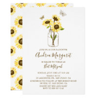 Sunflowers in Mason Jar Bat Mitzvah Invitation