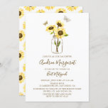 """Sunflowers in Mason Jar Bat Mitzvah Invitation<br><div class=""""desc"""">Whimsical Bat Mitzvah invitation featuring yellow sunflowers in a mason jar with butterflies. This floral Bat Mitzvah invitation is completely customizable.</div>"""