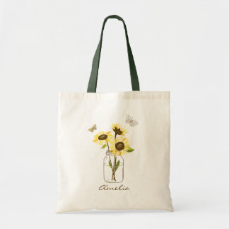 Sunflowers in Mason Jar Personalized Tote Bag