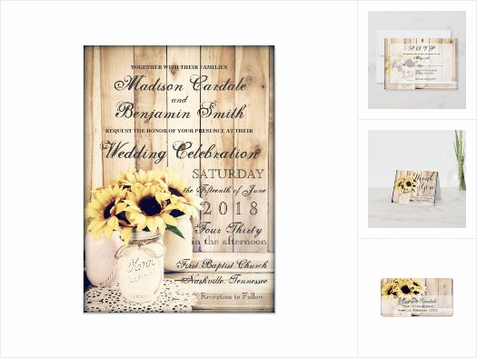 Sunflowers in Mason Jars Wedding Invitation Set