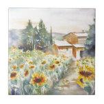 Sunflowers In Provence Ceramic Tile