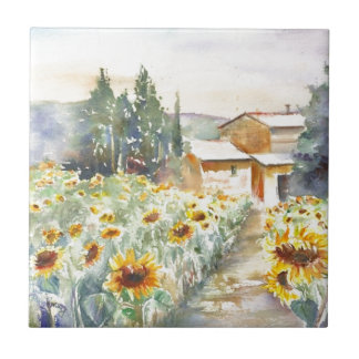 Sunflowers In Provence Small Square Tile