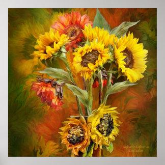 Sunflowers In Sunflower Vase - Sq_Art Poster/Print Poster