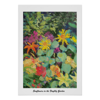 Sunflowers in the Daylily Garden Poster