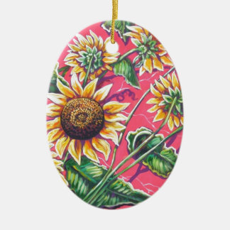 sunflowers in the pink Double-Sided oval ceramic christmas ornament