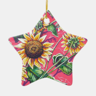 sunflowers in the pink Double-Sided star ceramic christmas ornament