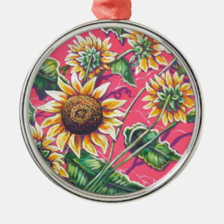 sunflowers in the pink round metal christmas ornament