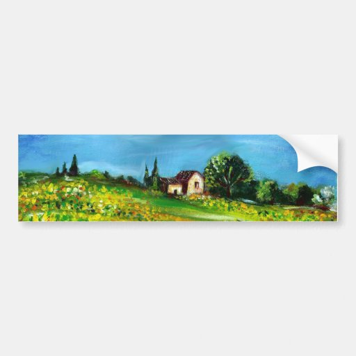 SUNFLOWERS IN TUSCANY COUNTRYSIDE-detail Bumper Sticker