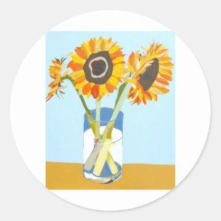 Sunflowers in vase.jpg classic round sticker