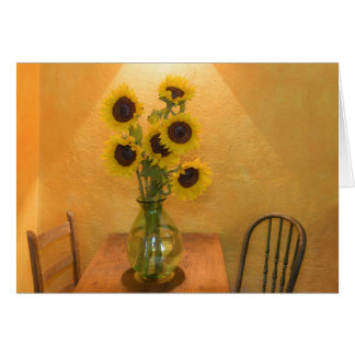 Sunflowers in vase on table 2 card