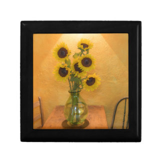 Sunflowers in vase on table 2 jewelry boxes