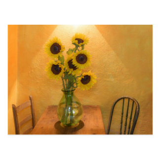 Sunflowers in vase on table 2 postcard