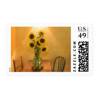 Sunflowers in vase on table 2 stamps