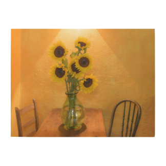 Sunflowers in vase on table 2 wood wall art