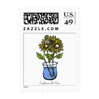 Sunflowers In Vase...Postage... Stamps
