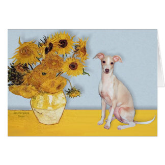 Sunflowers - Italian Greyhound 5 Card