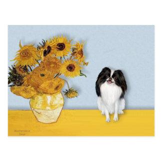 Sunflowers - Japanese Chin 3 Postcard