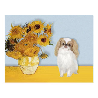 Sunflowers - Japanese Chin (L1) Postcard
