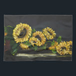 "Sunflowers Kitchen Towel<br><div class=""desc"">Sunflowers just cut from garden ready to assemble into an arrangement. Designed from my original oil painting &quot;Sunflowers From The Garden&quot; by Johanna Lerwick Wildlife/Nature Artist.</div>"