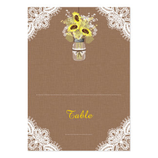 Sunflowers Lace Jar Rustic Wedding Place Cards Large Business Cards (Pack Of 100)