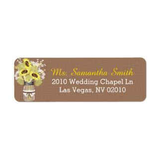 Sunflowers Lace Mason Jar Wedding Labels