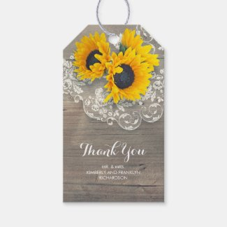Rustic Country Sunflower and Lace Gift Tags/Favor Tags
