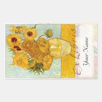 "Sunflowers Large Book Plate ""Ex Libris"" Rectangular Sticker"