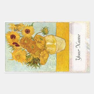 Sunflowers Large Book Plate Rectangular Sticker