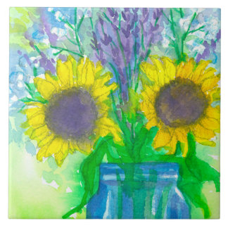 Sunflowers Lavender Baby's Breath Bouquet Tile