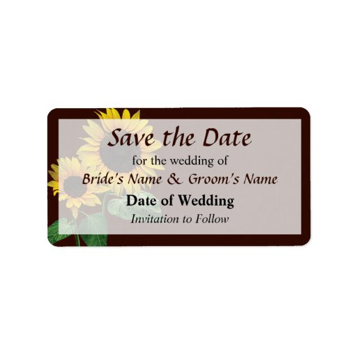 Sunflower's Love Save the Date Label