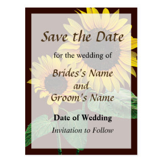 Sunflower's Love Save the Date Post Cards