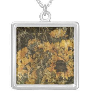 Sunflowers - Mark Patrick Digital Art Square Pendant Necklace