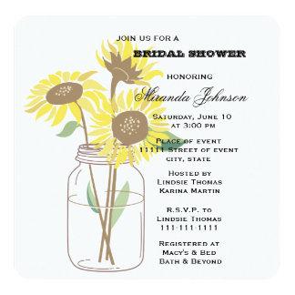 Sunflowers Mason Jar Bridal Shower Card