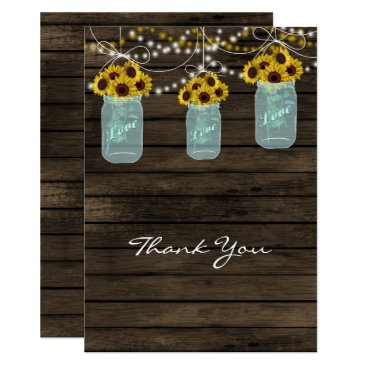 sunflowers mason jar bridal shower thank you cards