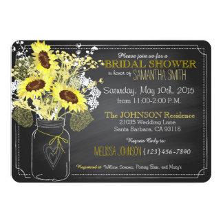 Sunflowers Mason Jar Chalkboard Bridal Shower Card