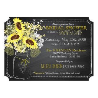 Sunflowers Mason Jar Chalkboard Bridal Shower 5x7 Paper Invitation Card