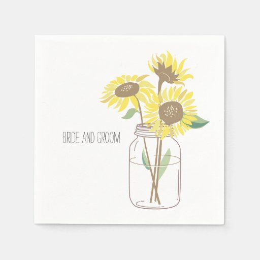 Sunflowers Mason Jar Disposable Napkin