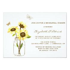 "Sunflowers Mason Jar Rehearsal Dinner Invitation 5"" X 7"" Invitation Card at Zazzle"
