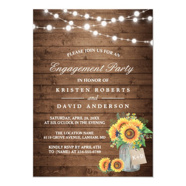 Sunflowers Mason Jar Rustic Wood Engagement Party Card (front side)