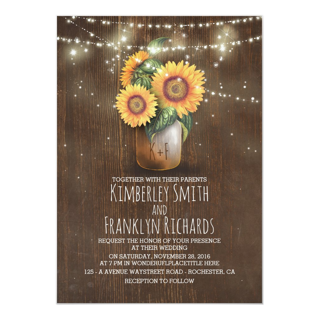 Rustic Sunflower Wedding Invitation with a Mason Jar and String Lights