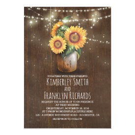 Sunflowers Mason Jar String Lights Fall Wedding Card