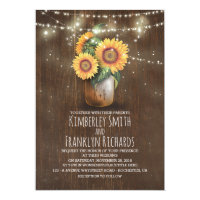 Sunflowers Mason Jar String Lights Fall Wedding Invitation