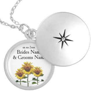 Sunflowers Modern Simple Elegant Wedding Ideas Silver Plated Necklace