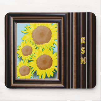 Sunflowers monogrammed mouse pad