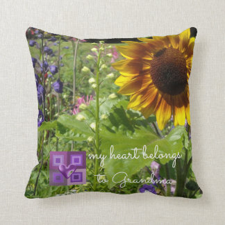 Sunflowers My Heart Belongs To Grandma Throw Pillow