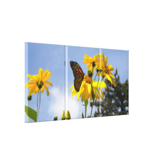 Sunflowers N Butterflies wrapped canvas print