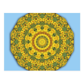 Sunflowers Nature, Flower-Mandala (Blumen-Mandala) Postcard