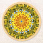 Sunflowers, Nature Mandala 004 Round Paper Coaster