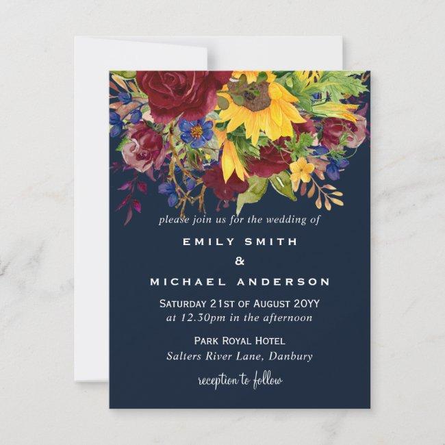 Sunflowers Navy Blue Burgundy Roses Wedding Invite